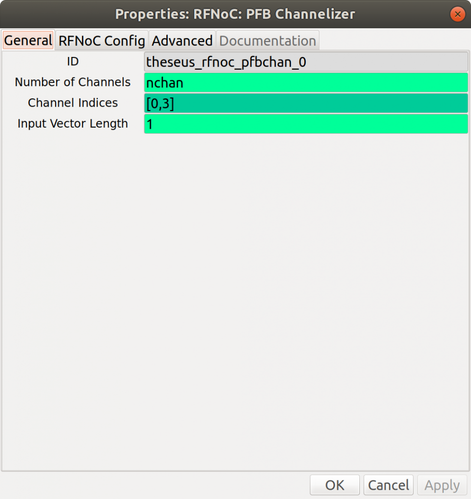 PFB Channelizer GNU Radio details (number of channels, channel indices)